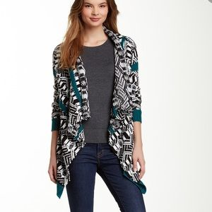 Romeo & Juliet Tribal Teal Waterfall Cardigan